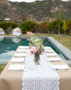A Romantic Wedding With A Pink Wedding Dress: Lauren + Dan. Hessian Table RunnerBurlap  TableclothLace RunnerWhite ...
