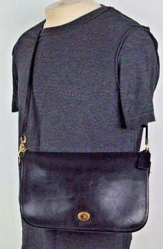 Vintage Coach Black Leather Turnlock Crossbody Messenger Flap Bag Purse #3939 #Coach #ShoulderBag