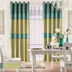 (Two Panels)Linen Classic Stripe Curtain  Panel With Sheer Set  – USD $ 139.99