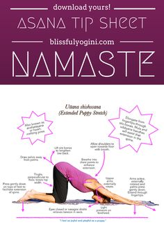 New tip sheet on puppy stretch! Read all about it and download your free asana tip sheet: http://www.blissfulyogini.com/asana-tip-sheet-27-puppy-stretch/ ❤️ ~ aloha & namaste, blissfulyogini.com #yoga #asanatipsheet #blissfulyoginis