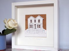 Personalised House Paper Cut by Homemade House, the perfect gift for Explore more unique gifts in our curated marketplace. House Illustration, Pop Out, House Drawing, Box Frames, Three Dimensional, Paper Cutting, Original Artwork, Personalized Gifts, How To Draw Hands
