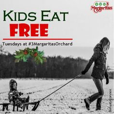 Out Christmas shopping with the kids today? Here's an added treat --- it's Kids Eat Free Tuesdays from 5 PM to 10 PM at 3 Margaritas Orchard Mall. No need to cook dinner after all. Cook Dinner, 10 Pm, 3 Kids, Christmas Shopping, Mall, Restaurant, Memes, Google, Free
