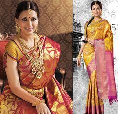 South Indian bride. Temple jewelry. Jhumkis. silk kanchipuram sari.Braid with fresh jasmine flowers. Tamil bride. Telugu bride. Kannada bride. Hindu bride. Malayalee bride.Kerala bride.South Indian wedding.Sonali Bendre.