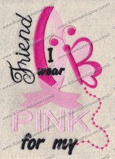 Breast Cancer Embroidery For Your Friend by 8clawsandapaw on Etsy, $2.95