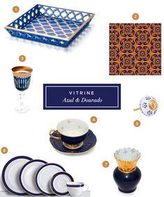 Objetos de mesa e de decoração em azul e dourado