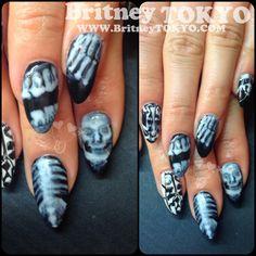 Hand Painted X-ray art byBritney TOKYO #nail #nails #nailart