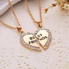Charming Splice Heart Pendant Best Friend Letter Necklace Women Gifts 2 Color Pick Jewelry