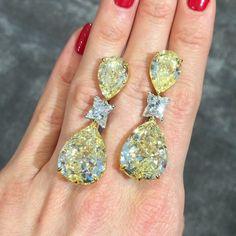 60cts Fancy Yellow Pear Shape Diamond Earrings - Glenn Spiro #harrods #glennspiro