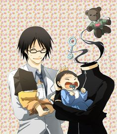 SHINRA AND CELTY HAVE A FAMILY. I'm trying not to imagine that the baby on the left doesn't have a head underneath the bag.