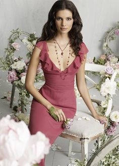 Charming Fushia Lacing Chiffon Deep V-neck Bridesmaid Dress