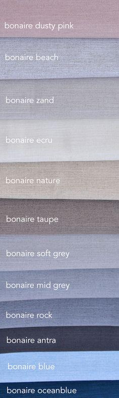 100% verduisterende gordijnen die mooi zijn en functioneel. Kies dan uit 12 kleuren bonaire. Lekker zachte touch en soepel vallend.