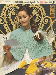 Coats3051 - ladies crochet bed cape bedjacket - vintage crochet pattern