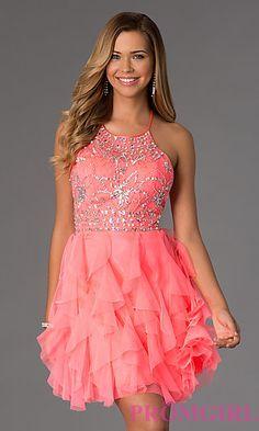 Short Halter Neck Dress with Ruffled Skirt at PromGirl.com