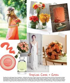 Tropical coral and green #wedding theme.