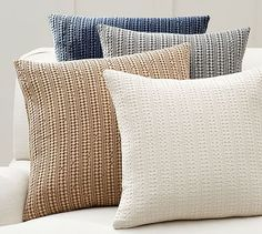 Just because your space is small, doesn't mean you cannot have lots and LOTS of throw pillows! Honeycomb Pillow Cover #mypotterybarn