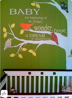 Nursery room wall-love the quote idea in the tree...now i just need to find a great quote...Bible verse.