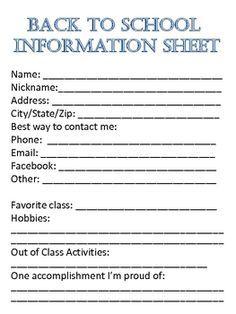Projets à essayer on Pinterest | Student Information, Student ... - personal information sheet