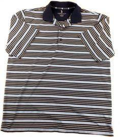 Men's Jack Nicklaus Performance Golf Polo 2 Tone Blue/White Striped Shirt Size L #JackNicklaus