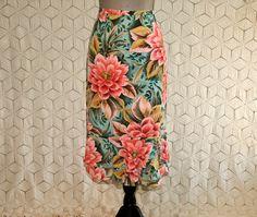 Tropical Skirt Silk Skirt Small Floral Skirt Mint Green Peach