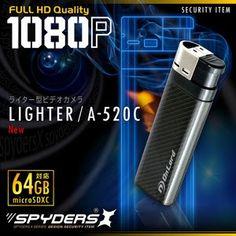 最新!超小型カメラ最前線: ライター型超小型ビデオカメラ A-520C / カーボン 1080P 簡単撮影 64GB対応 動体検...
