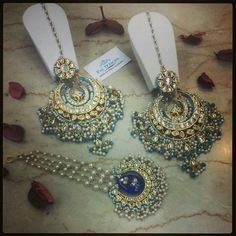 Blue earrings tikka