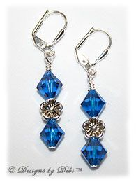 Designs by Debi Handmade Jewelry Swarovski Crystal Capri Blue Bicones and Silver Flowers Sterling Silver Plated Leverback Earrings $14