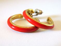 "Vintage Enamel Half Hoop Earrings Red Gypsy Boho Chic Retro Costume Jewelry 1"" #Hoop"