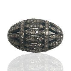 "Oval Filgree Diamond Beads .925 Oxidized Sterling Silver Diamond Beads, Genuine handmade pave diamond Beads Size Approx 0.92""(14 x 23 MM)"