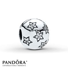 Pandora Clip CZ Twinkle Sterling Silver Stock number: 801802404 Small sparkling stars formed from round clear cubic zirconias decorate this irresistible sterling silver clip from the Pandora Moments Holiday 2012 collection. Style # 791058CZ. $55.00