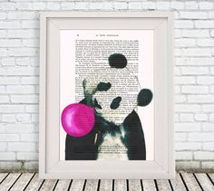 Panda acrylic painting print Original Drawing by Cocodeparis