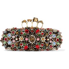 Alexander McQueen Knuckle embellished satin box clutch ($3,695) ❤ liked on Polyvore featuring bags, handbags, clutches, black, skull knuckle purse, skull purse, evening purses, skull clutches and special occasion clutches