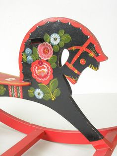 Vintage Russian Rocking Horse, Child's Toy, Beautiful Lacquered Design, Made in USSR