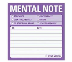 Knock Knock Sticky Mental Notes (Sticky Note) by Knock Knock Knock Knock Notes, Funny Post It Notes, Funny Office Gifts, Cheap Christmas Gifts, Thing 1, Blank Book, Gifts Under 10, Sticky Notes, Looks Cool