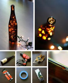 Lighted wine bottles.  Love this idea.