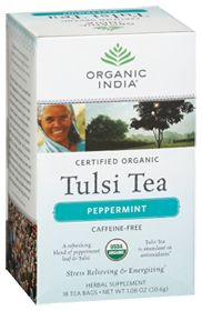 Organic India USA Tulsi Peppermint Tea, 18.0 Each Bag. Good for the stomach.