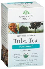 Organic India USA Tulsi Peppermint Tea, 18.0 Each Bag. Good for the stomach.