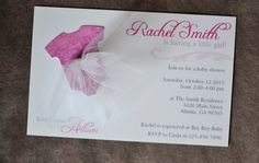 Baby Girl Shower Invitations Tutu Gray and Pink by FuzzyFeelings