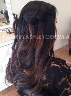 brown hair, brunette hair, caramel highlights, balayage hair, braided hair #hairbyashleygeremia