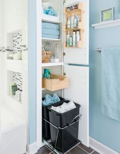 build a cubby into the wall behind the bathtub. Also a great idea to have laundry hampers kept in the bathroom. Five Great Bathroom Storage Solutions