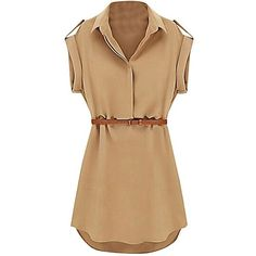 US&R, Women's Black Beige Cap Sleeve Belted V Neck Safari Style Mini... ❤ liked on Polyvore featuring dresses, long shirt dress, belted dresses, belted shirt dress, beige shirt dress and beige dress