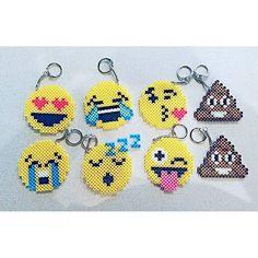 Emoji keychains perler beads by pixelatedportraits13