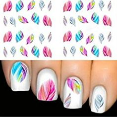 Colorful Beauty Leopard Water Transfer Stickers Nail Art Tips Feather Decals