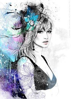 Портрет девушки с орхидеями/Для печати на холсте/ фомат A-2.  Детали крупнее: http://www.behance.net/gallery/Portrait-with-Orchids/8381505