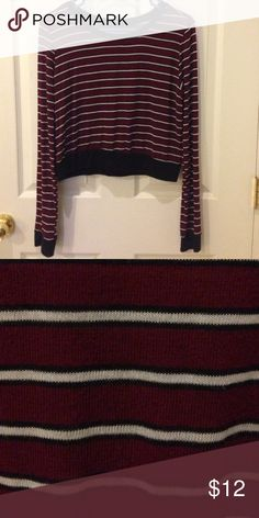 Striped crop top sweater Burgundy, white, and black striped crop top tank from Forever21. Super comfortable material. (I cut the tag off because it was itchy. 😂) Forever 21 Tops Crop Tops