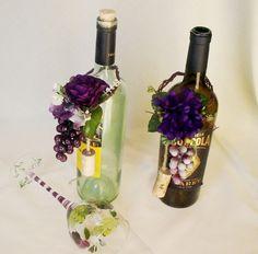 Wine Bottle Wedding Centerpiece Grape Purple by AmoreBride on Etsy