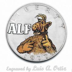 Alf S871 Ike Hobo Nickel Engraved & Colored by Luis A Ortiz
