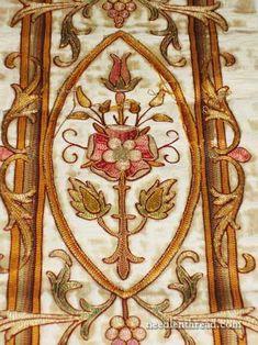 # March 13, 2013 Wednesday,. Goldwork & Silk Tambour Embroidery on Vestment.  http://www.needlenthread.com/2013/03/goldwork-silk-project-consideration.html