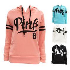 Womens-Casual-Hoody-Hoodie-Sweatshirt-Hooded-Sweater-Pullover-Jumper-Coat-PINK