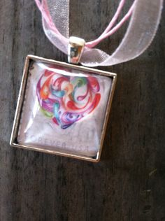 Quilled Paper Heart Necklace ~  Dome Pendant Tray Necklace ~ Postage Stamp Jewelry ~ Heart Necklace ~ Colorful Heart Necklace by MichellesVarietyShop on Etsy