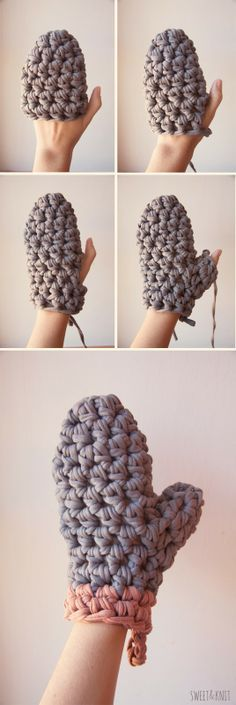 Crochet XXL Glove - Tutorial (Spanish) ❥Teresa Restegui http://www.pinterest.com/teretegui/❥